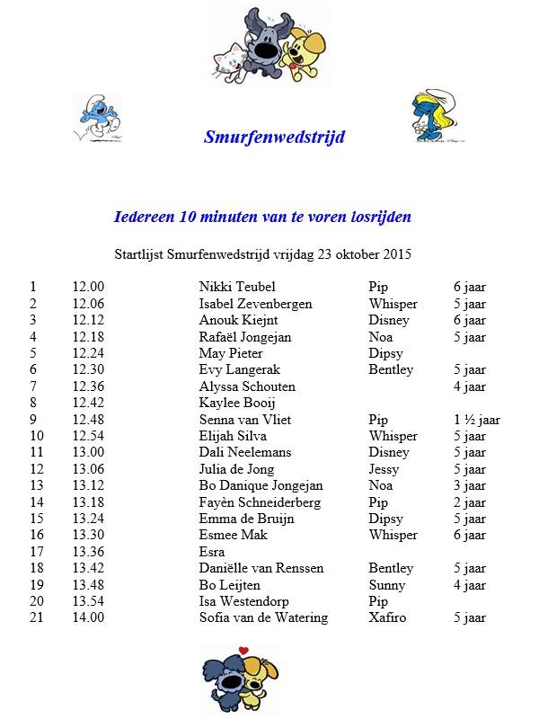 Manege Hitland Smurfenwedstrijd